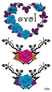 long lasting temporary tattoo rose temporary tattoos for women and girls, one paper tattoo including purple rose love heart ring, 1 red rose and 1 blue rose
