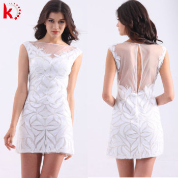 most newest styles sequins sleeveless cheap sexy knee length dress white christmas party dress