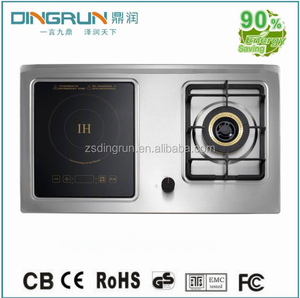 New style 2000W double burners buitl-in induction cooker with touch control and gas stove with knob control