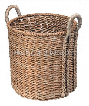 Wholesale Wicker Baskets Oversized Seagrass Round Storage Baskets With Ears