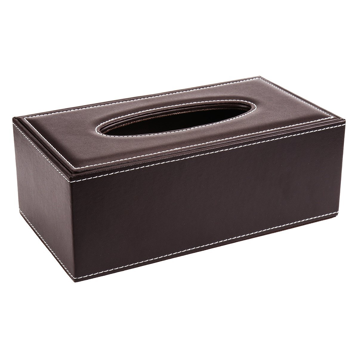 "Brown PU Leather Simple Creative Flip Car Tissue Box for Office&Home 9.84""x5.51""x3.74"""
