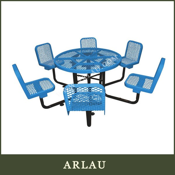 Arlau Out Door Garden Furniture,Garden Metal Round Table 6 seat,Restaurant Table with 6 chairs