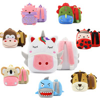 Unicorn and Animal Design Plush Material Backpack for Kids