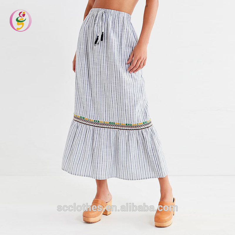 Hot Striped Printed Bohemian Thailand Curly Willow Table Skirt Leisure Maxi Skirt