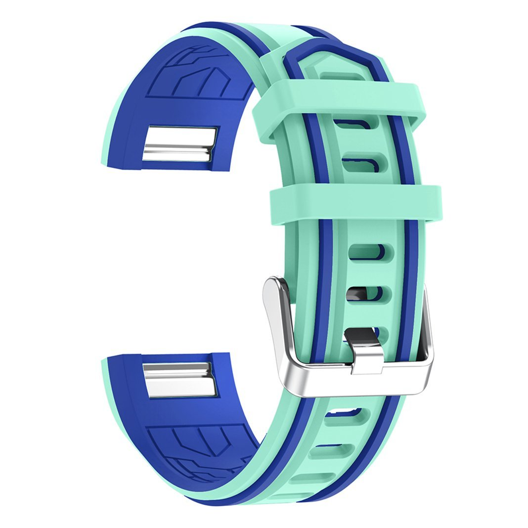 For Fitbit Charge 2 Band Silicone Band, AISPORTS Fitbit Soft Silicone Smart Watch Band Adjustable Replacement Band with Metal Bracelet Buckle Clasp for Fitbit Charge 2 Fitness Accessories - Green/Blue