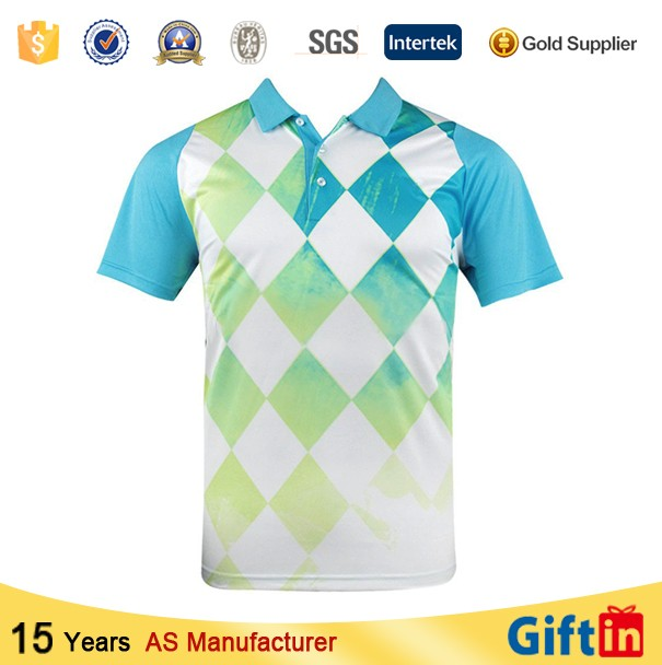 Cheap factory custom casual pattern 100 polyester mens for Custom polo shirt manufacturers