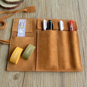 Online Wholesale Plush Leather Pen Pouch Roll Up Pencil Pouch