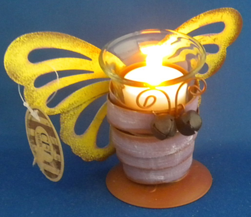 """Butterfly Tealight Candle Holder & LED Flameless Candle Tin Metal & Glass Cup Spring 4-1/2"""" NEW"""