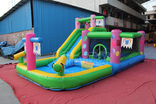inflatable bouncy castle with water slide, jumping bouncer castle slide for sale