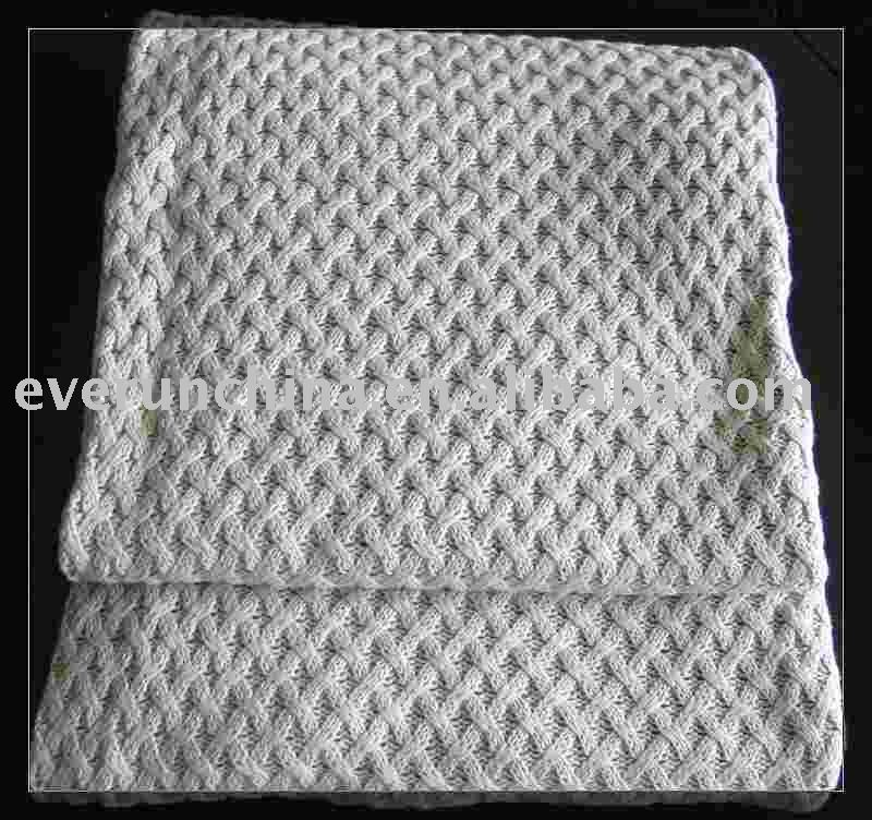 Basket Weave Cross Knit Throw And Blanket
