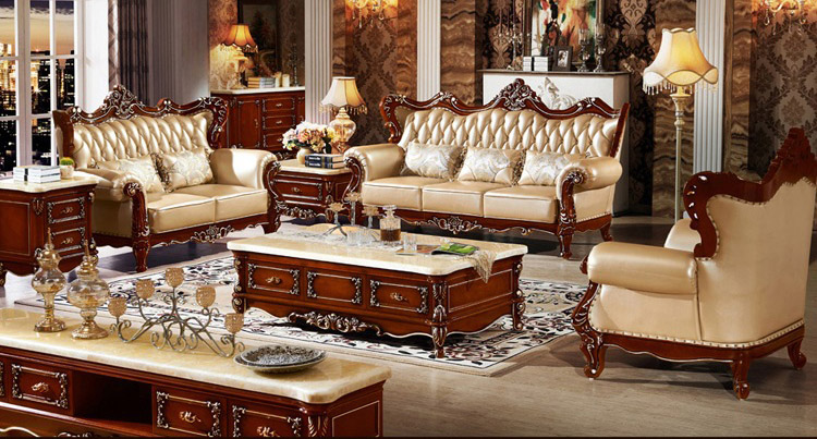 European style sofa the size of the apartment living room sofa leather cow pipi arts villa - Apartment size living room furniture ...