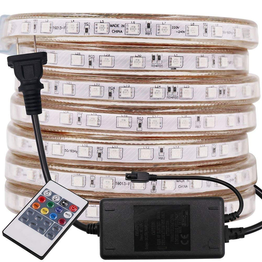 XUNATA 66ft Flexible RGB LED Strip Lights, AC 110-120V 5050 1200 LED Waterproof RGB Multi Color Changing LED Rope Light for Wedding Party Christmas New Year Decoration