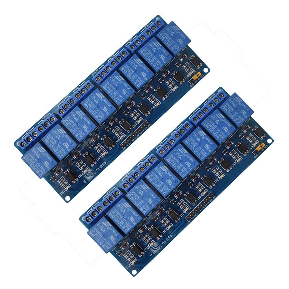 Alloet 2PCS 12V 8-Channel Relay Shield Module for Arduino UNO 2560 1280 PIC