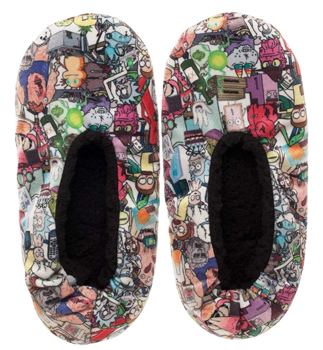 2fd491292b05 Main Street 24 7 Rick and Morty All Over Print Adult Size Plush Cozy  Slippers