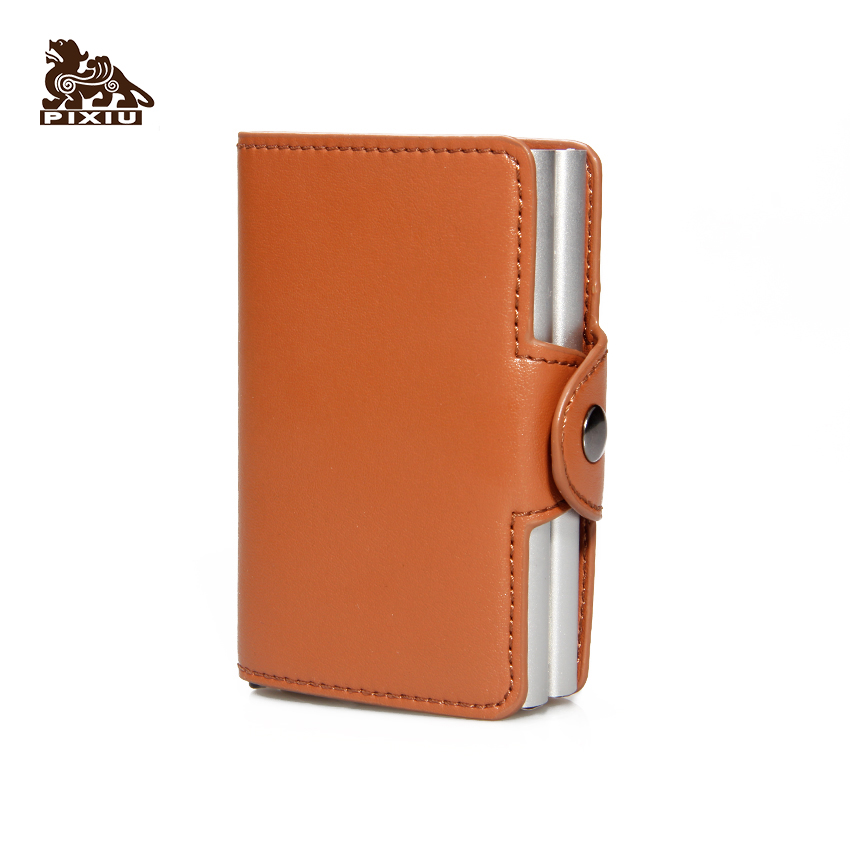 Hot Selling Handmade Full Grain Leather Pop Up Credit Bank Double Metal Card Holder