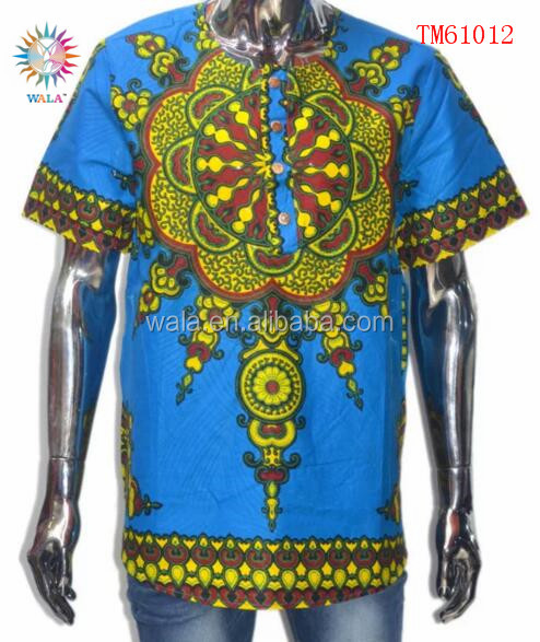 TM61012- (1) high quality 100% cotton T shirt fabric african wax prints fabric for man clothes