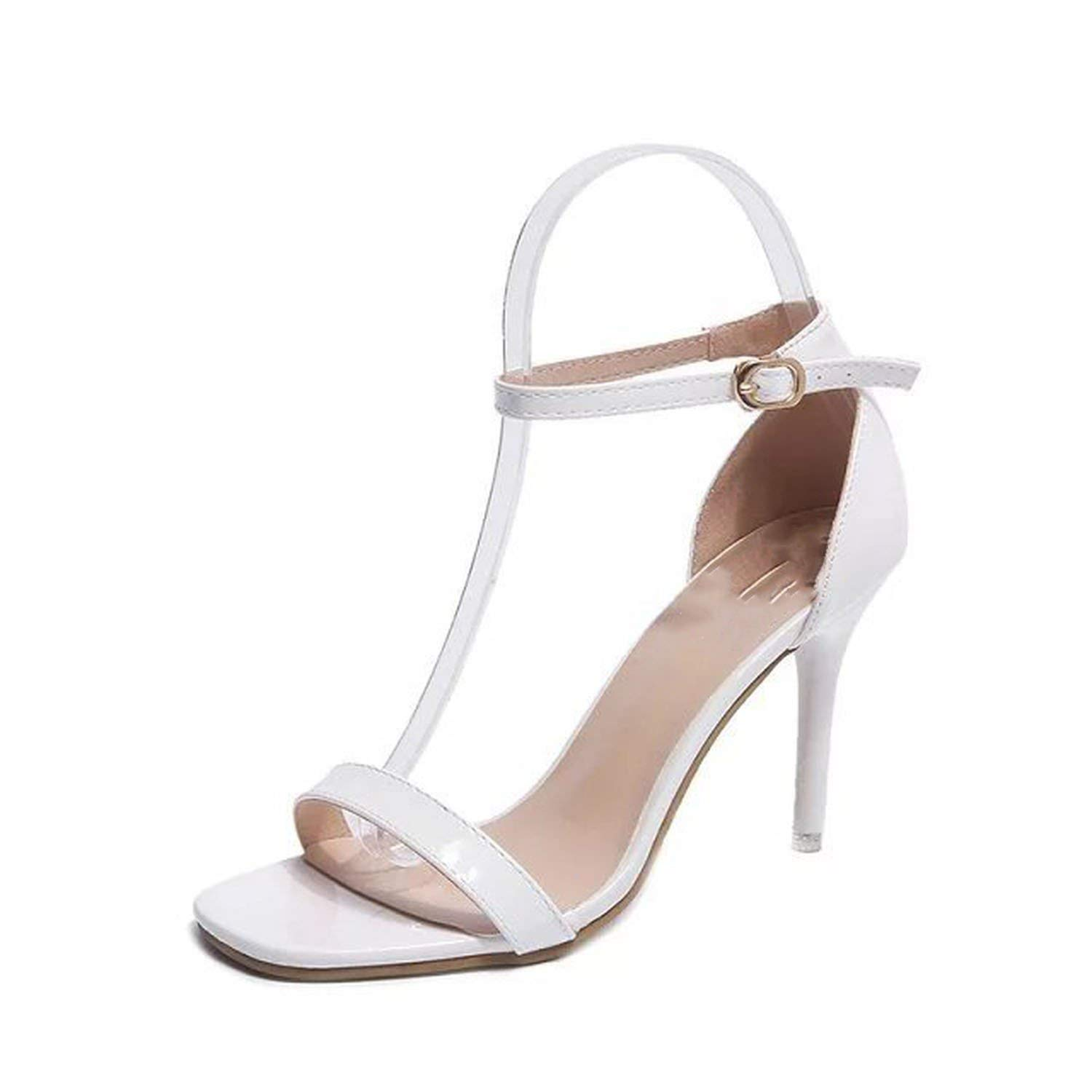 4fa946fb88ce Get Quotations · Collocation-Online Women Sandals High Heels Sandal Nude  Heels Sandals Concise Patent Leather Party Shoes