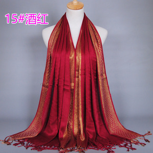 wine red 16 color 180cmx60cm cotton women golden thread scarf hijabs