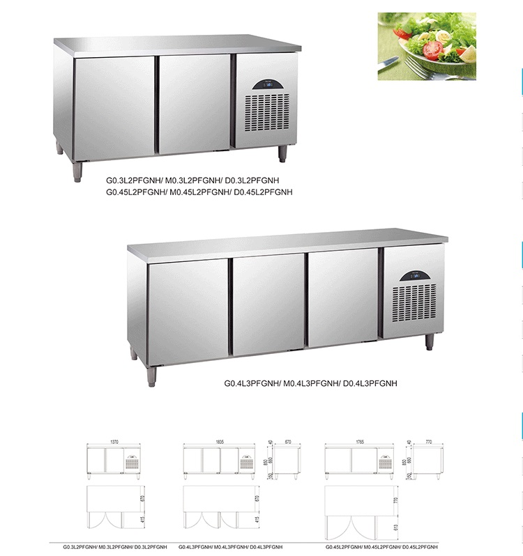 3 Doors Refrigerated Counters for GN Pans