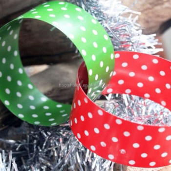 red and green polka dot spot spotty party paper chain garland for christmas decorations - Christmas Chain Decorations