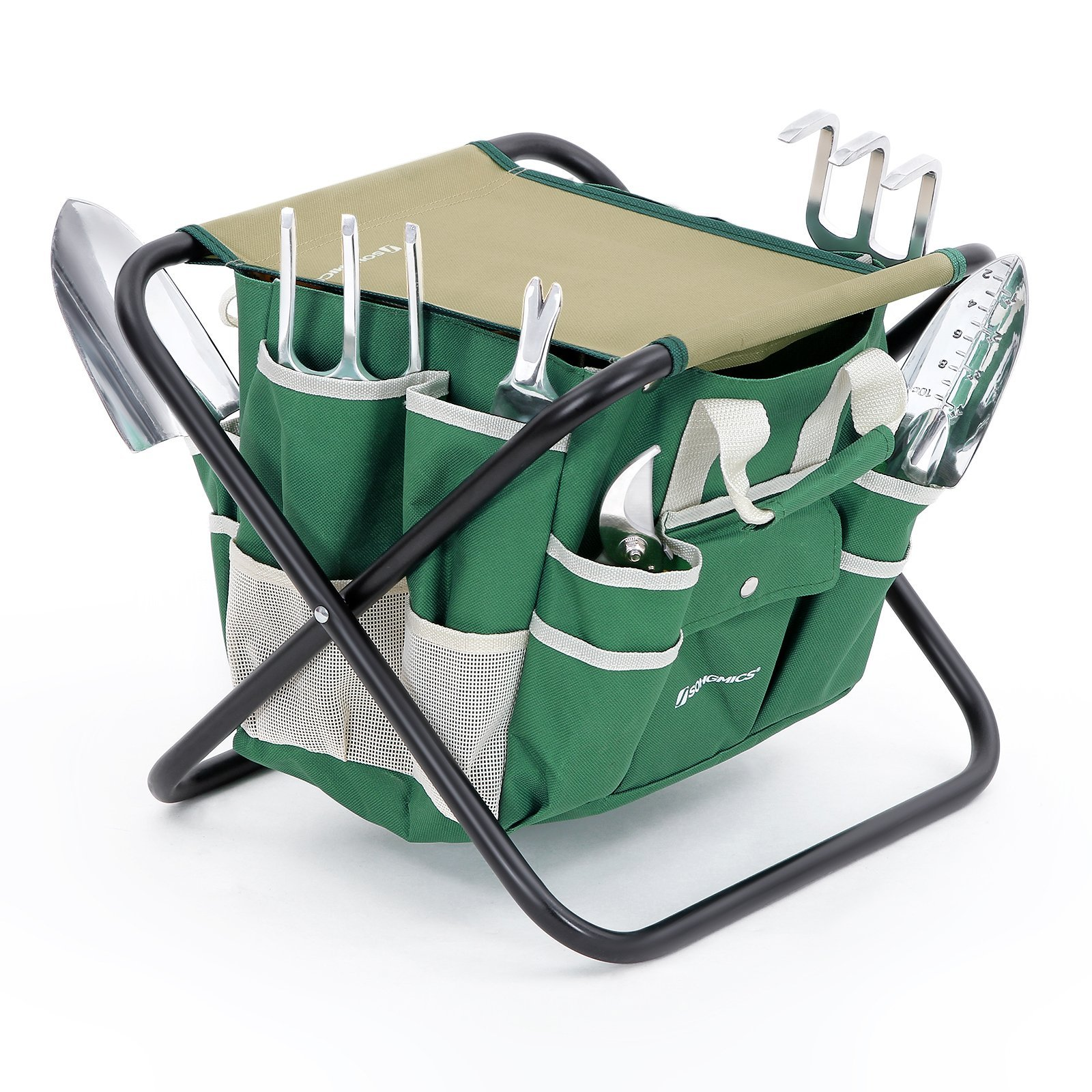 SONGMICS 8 Piece Garden Tool Set Includes Garden Tote Folding Stool and 6 Hand Tools w/ Heavy Duty Cast-aluminum Heads Ergonomic Handles UGGS40L