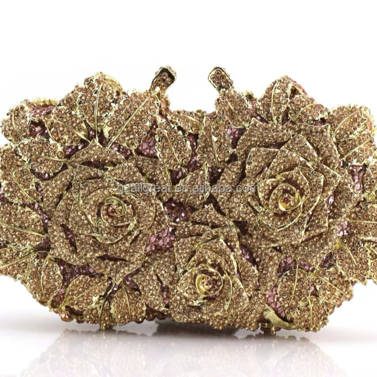 AB7000#341 2018 latest fashion designer stoned flower acrylic evening clutch