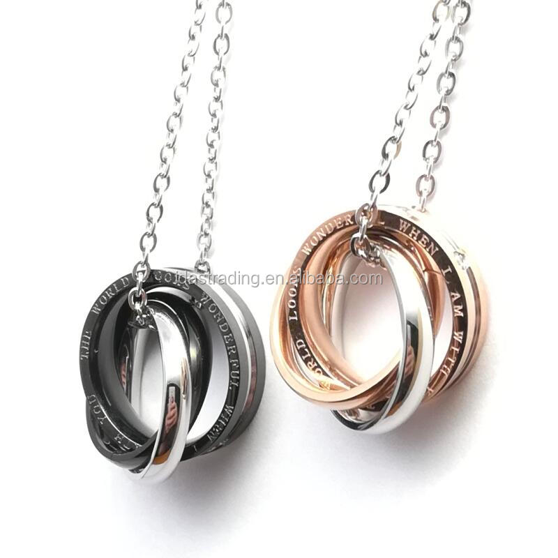 Jewelry Trendy Fashion 3 Circle Lover Necklace Set 316L Stainless Steel Top Grade Couple Jewelry