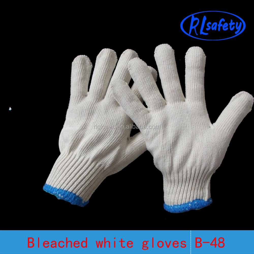 RL SAFETY 600g Cotton string knitted white bleached gloves china working