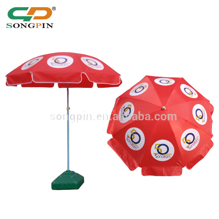 outdoor steel parasol, silk printing parasol customized sun umbrella for sale
