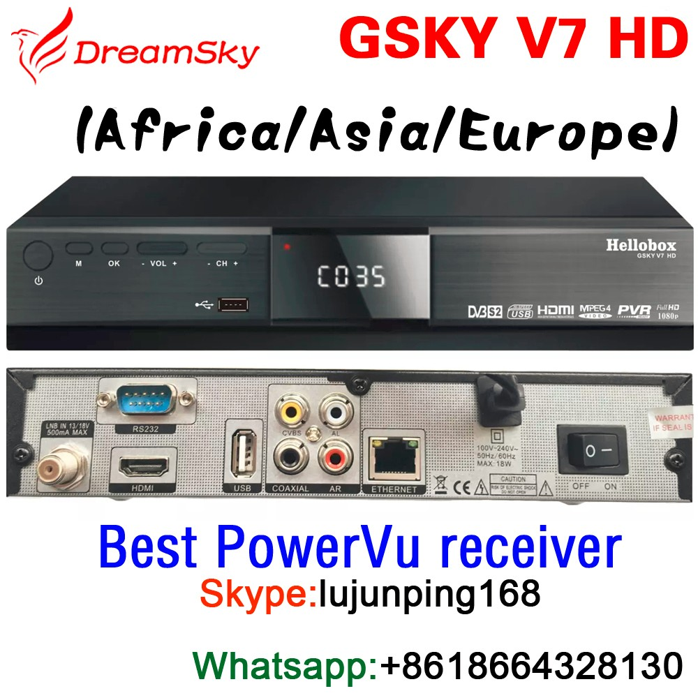 GSKY V7 HD Global Edition Best DVB-S2 FTA Satellite Receiver for Africa/Asia/Europe market Support Powervu channel auto-roll