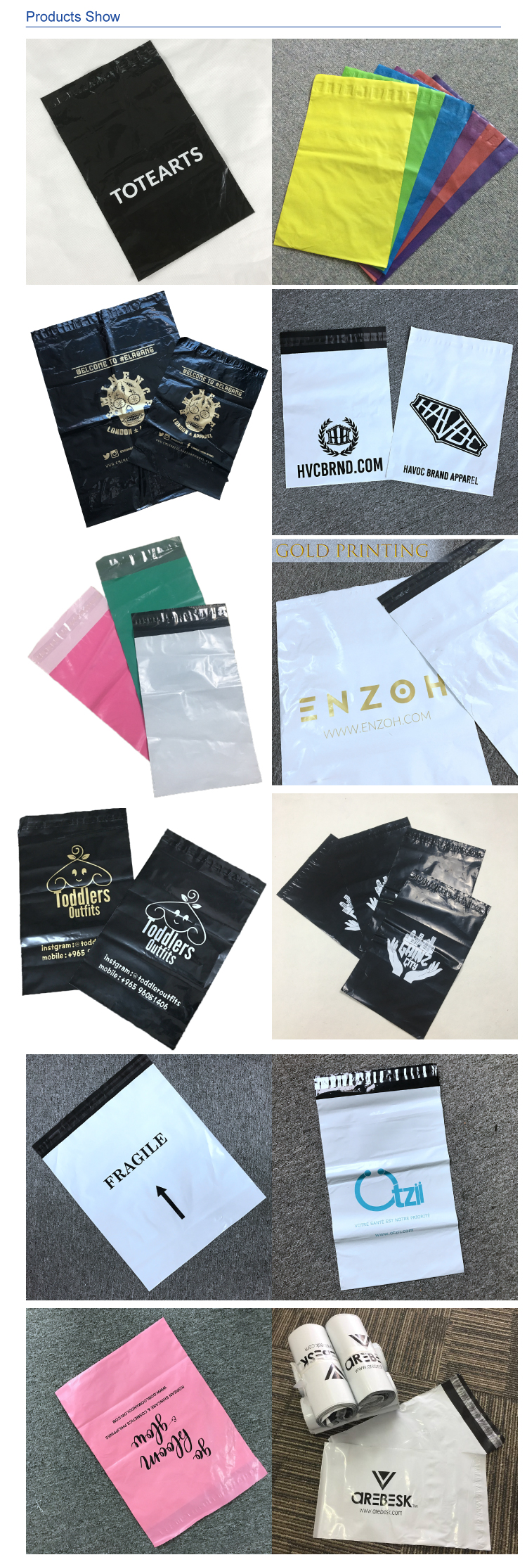 Design Logo Colored Printed 10X13 Compostable Biodegradable Poly Mailers Shipping Envelopes Bags