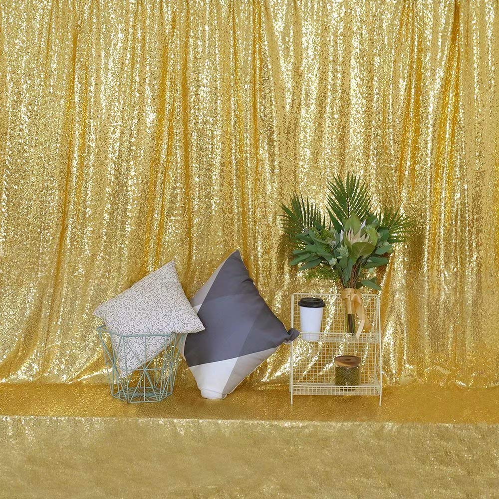 GFCC Sequin Backdrop Sequin Gold Backdrop Curtain for Wedding/Birthday Party/Baby Showers/Photography-6ftx8ft