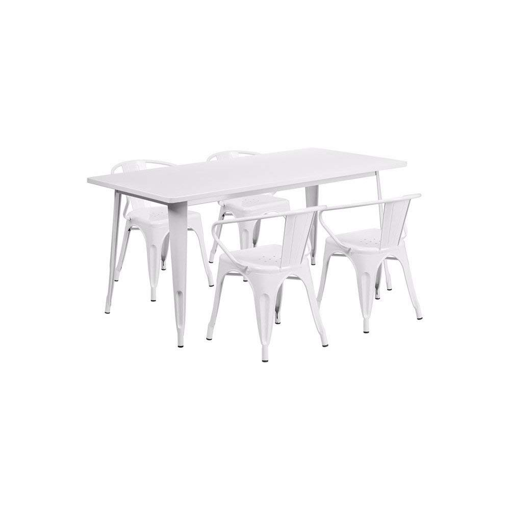 """Offex OFX-380695-FF 31.5"""" x 63"""" Rectangular Metal Indoor Table Set with 4 Arm Chairs - White"""