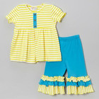High quality children girls summer puff bubble sleeve loose tunic and ruffle stripes pants candy colorful clothing set