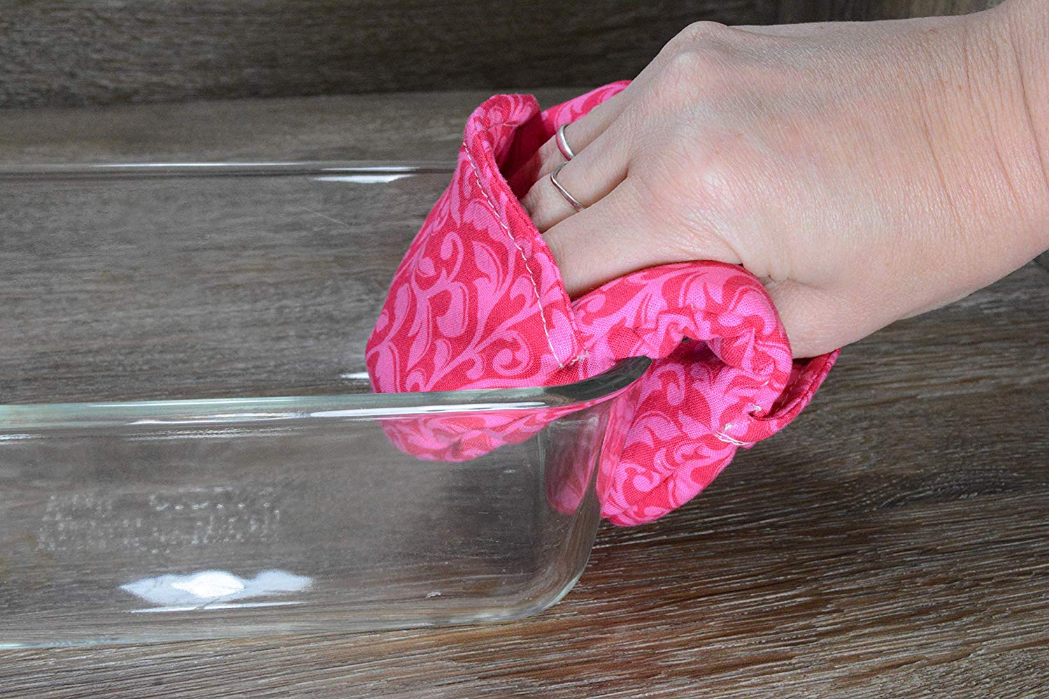 Mini Oven Mitts // Set of 2 // Fingertip Oven Mitts // Pink Foliage
