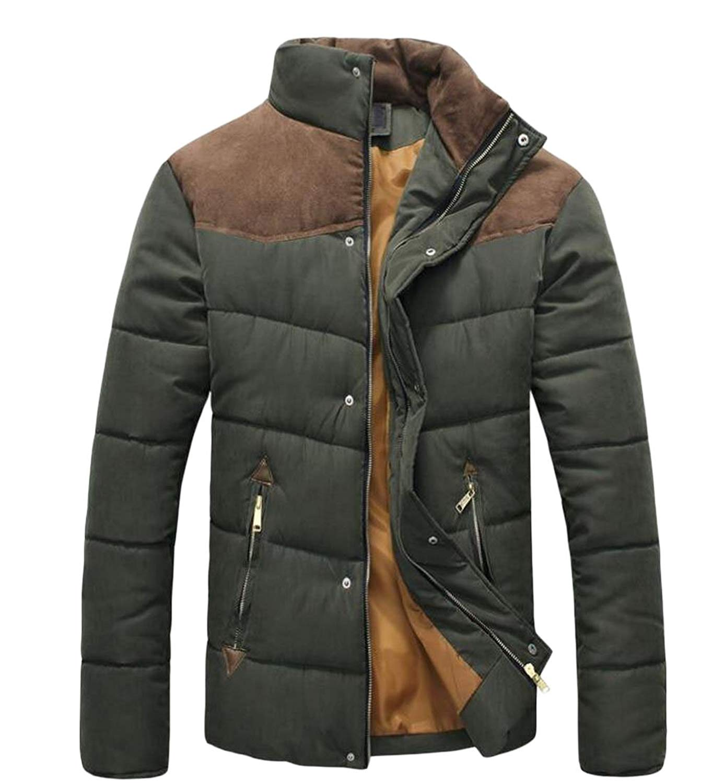 desolateness Men Winter Zip up Stand Collar Packable Down Jacket Warm Coats