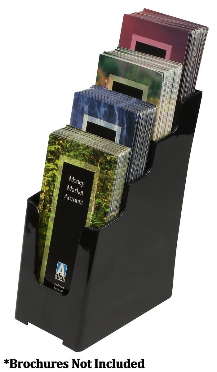Displays2go Countertop Brochure Literature Holders, Tiered Design, Set of 8, Black Acrylic (LD4T40DBLK)