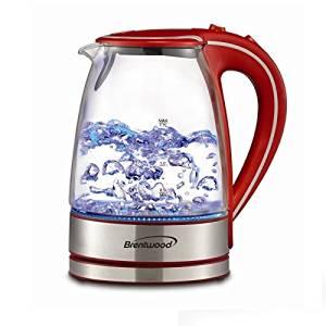 Brentwood Appliances KT-1900R Tempered Glass Tea Kettles, 1.7-Liter, Red by Brentwood Appliances