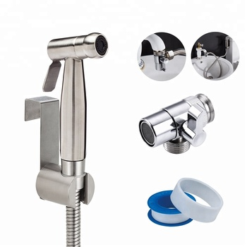 Top Selling On Amazon SS 304 Nickle Brush Diaper Cloth Shattaf Bidet Sprayer With Faucet Diverter Valve For Basin Sink