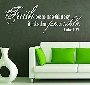 GMDdecals® Anything is Possible Faith Luke Bible Scripture Quote Vinyl Wall Decor Decals [GLOSSY WHITE]- 36 inches x 12 inches -Adhesive High Glossy Vinyl [3mil] **Made In USA**