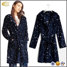 Ecoach Wholesale OEM Women Navy Self-tie Sash Cinches Waist Coral Fleece Thick Hooded Bath Robe With Written Stars