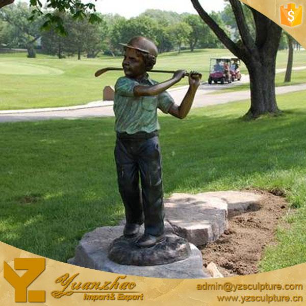 Garden Bronze Life Size Boy Golfer Statue For Decoration