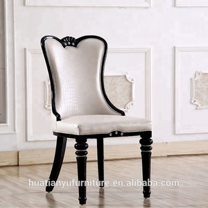 Luxury royal hotel hand carved wooden dining chair with wooden legs