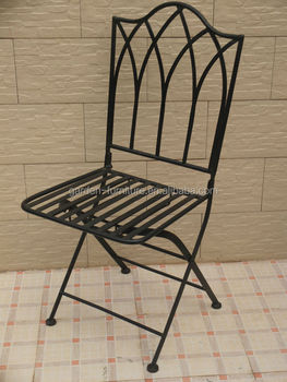 Delicieux Antique Wrought Iron Furniture Garden Patio French Bistro Style Folding  Chairs