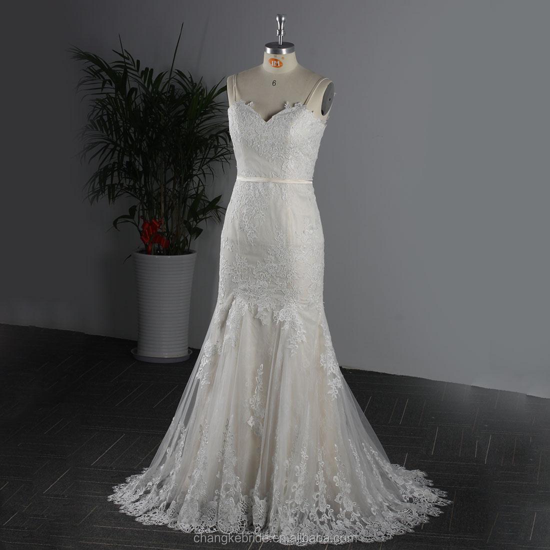 2ad538a9c 2018 vestido de fiesta Spaghetti encaje Appliqued sirena vestido de noche  largo del cordón vestidos de