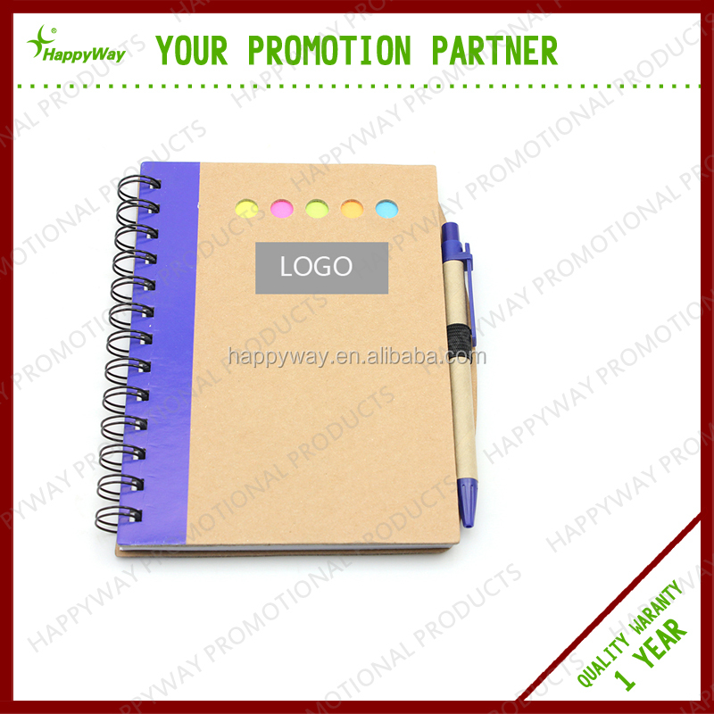 Custom Promotional Business Office Kraft Note Book With Pen