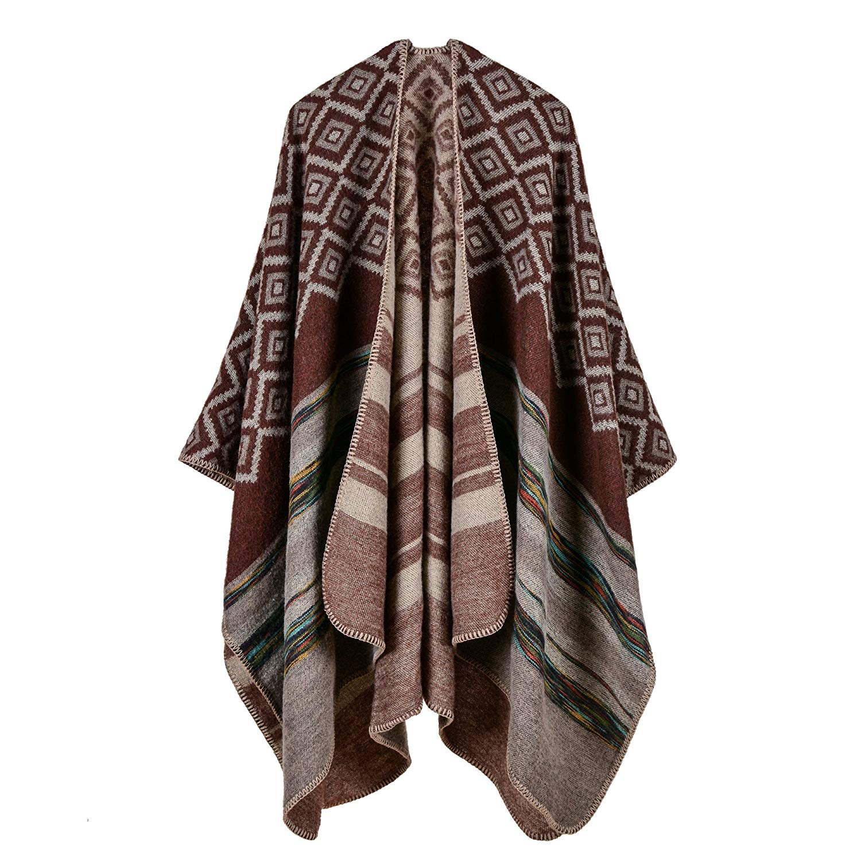 VamJump Women Winter Reversible Oversized Fleece Blanket Poncho Cape Shawl Coat