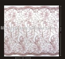 Polyester Cording Embroidery On Tulle Trim Fabric Galloon