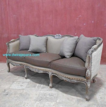VINTAGE FURNITURE   WASHED FRENCH FURNITURE   WEATHERED OAK LIMED FRENCH  SOFA FURNITURE