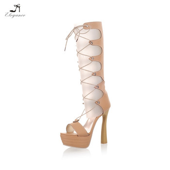 dce8d9c5911 2017 Women Cut Out Lace Up Knee High Heel Platform Boots Sexy Gladiator  Strappy Sandals